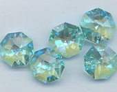 Wow - the most beautiful Swarovski color ever!  Four two-holed octagons - discontinued - Art 8116 - 14 mm - antique green blue AB