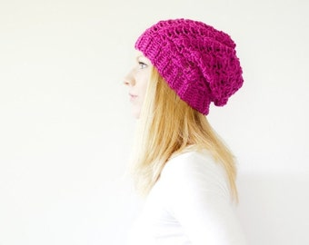 WINTER SALE the SUMTER hat - Slouchy hat beanie crocheted - hot pink - wool