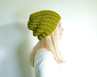 WINTER SALE basic chunky knit hat womens slouchy hat beanie - lemongrass
