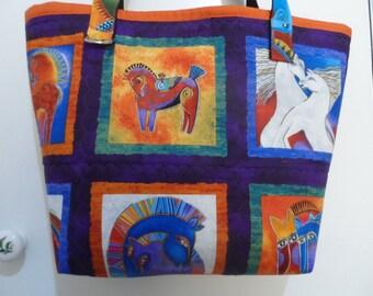 Laurel Burch Tote Bag - Handmade Tote Bag - Mystical Horses Tote Bag - Tote Bag - Laurel Burch Print - Handbag Tote Bag - Market Tote Bag