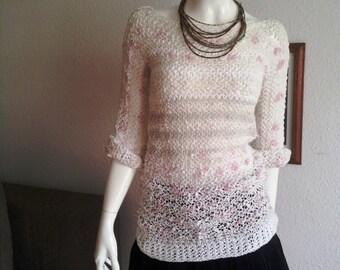 SALE Woman's crochet sweater handmade pullover top new 2016