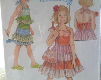 Girls Daisy Kingdom Dress Pattern - Girls Top Sewing Patterns - Simplicity 2994 - Uncut, Factory Folds Size 3-8