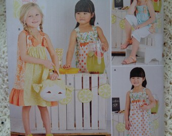 Girls Cute Summer Dress & Short Set - Simplicity 8145 Summer Ruffled Dresses, Top with Long Shorts with Purse - US Sizes: 3 -4 -5 -6 -7 -8