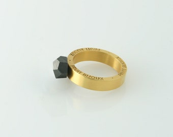 Goldrush ring, gold plated ring, rhodium plated top, 8 mm