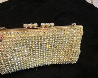 Vintage Gold and Shimmering Diamonte Evening Bag