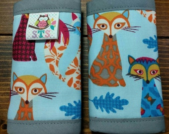 Reversible Car Seat Strap Covers Folklore Forrest Patterned Foxes on Baby Blue w/Orange Dimple Dot Minky Cuddle Baby Boy Newborn ITEM #108