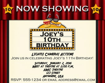 Movie Theatre Birthday Party Invitation