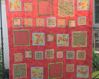 On Sale Bright Floral Large Lap or Bed Quilt, Handmade Patchwork Blanket in Melon Orange Green Blue Sage Coral Martha Negley Fabrics