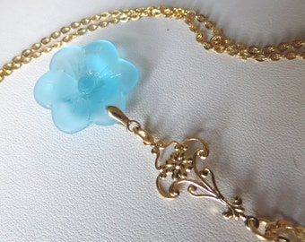 Turquoise Sea Glass Gold Flower Necklace