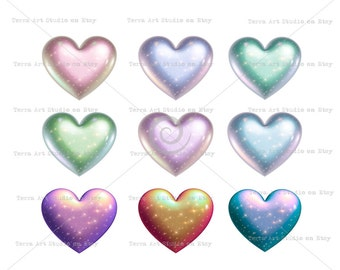 Starry Galaxy Hearts, pearl glitter value set 9 colors, digital graphic instant download clipart scrapbooking crafts sparkly diamond dust