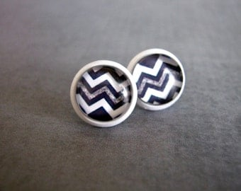 Black White Chevron Studs : Modern Post Earrings