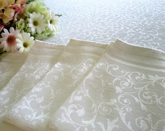 Vintage Damask Tablecloth w 5 Matching Napkins, 56 x 65, Ivory Color  Tablecloth Set, Elegant Dinning, Vintage Linens by TheSweetBasilShoppe