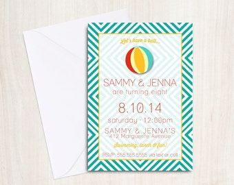 Beach Ball Party Invitation - Pool party Invitation- Beach party - party supplies