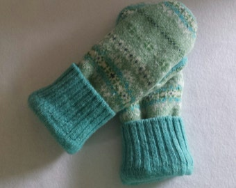 Felted Wool Mittens Recycled from Felted Wool Sweaters, Fleece Lined -Women's  Mitten Gift Under 50