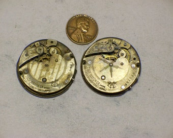 2 vintage 6s Tacy W Co pocket watch movements parts repair steampunk E-251