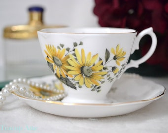 ON SALE Royal Albert Malvern Shaped Teacup And Saucer Set With Deep Yellow Shasta Daisy Flowers, English Bone China Tea Cup, ca. 1960-1970
