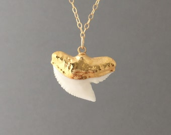 Gold White Shark Tooth Necklace