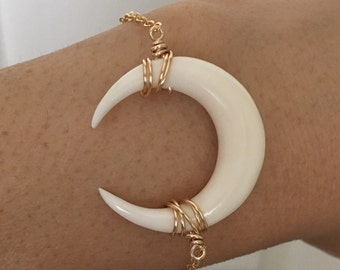 White Bone Double Horn Gold Bracelet also in Silver and Rose Gold