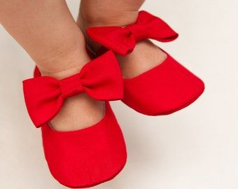 Bow shoes, Red baby girl shoes, red headband, Christmas headband, Red bow shoes, Red baby slippers, Xmas baby