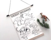 Ancient Dinosaur CHART - Black and white Dinosaur drawings on CANVAS or PAPER