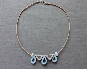 Handmade ceramic blue and pink short necklace - Made to order