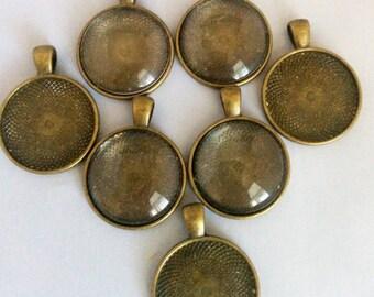 7 Antique Brass Bezels 25mm