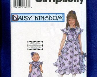 Simplicity 9167 Daisy Kingdom Girl's & Doll Dresses Pattern Size 7 to 14 UNCUT