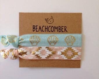 hair tie bracelets, beach bracelets, shell bracelet, beach accessory, friendship bracelets, bohemian bracelet, girl gift