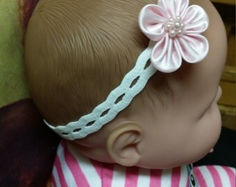 Infant stretch headband, Baby girl pink flower on stretch band, baby hair accessory, White Lace Headband, Pink Flower, Shower Gift, New Baby