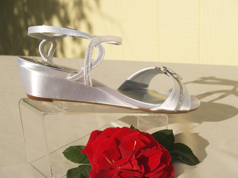 Wedge Heel Shoes For Wedding: Comfort Wedding Shoes Wedge 1 Inch Heel Crystals Rounded