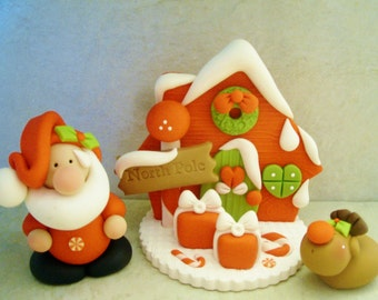 The North Pole - Santa - Rudolph - Polymer Clay - Holiday Figurines