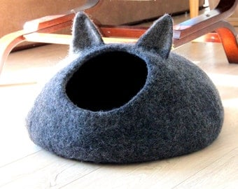 Dark gray cat bed - pets bed - cat cave - charcoal grey small dog bed - made order