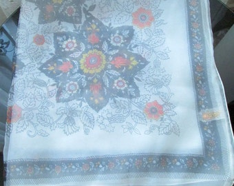 Original 50s/60s Double Nylon Chiffon Scarf - Pearl with Floral Mandala Design