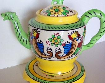 Vintage Dragon Teapot and Trivet