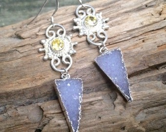 Druzy Arrow & Citrine Earrings (one of a kind)