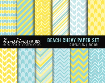 Blue Chevron Paper Set - Blue and Yellow Digital Scrapbooking Paper Set - COMMERCIAL USE Read Terms Below