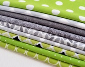 Fat Quarter Bundle of 9 Fabrics, Lime Green, Gray, Light Gray, Polka Dots, Geometric, Floral Fabric, Nature, Leaves (PGYB-9-29)