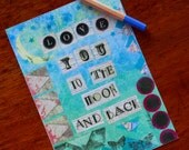 Love Greeting Card Birthday Anniversary Wedding Blank Blue Green Love You To The Moon Mixed Media Print Note