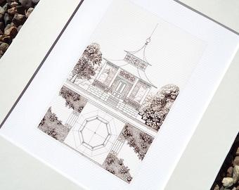 Sepia Pagoda Blueprint 4 Garden Architectural Plan Archival Print