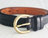 Belt - Black Coach Leather Size Small 1980s dark with solid brass hardware