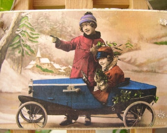 Victorian style, children pedal car, Christmas, wintry scene, tinted photo image on shabby chic wooden tag.