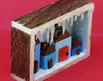 Tiny wooden houses diorama, shadow box, small, mini, winter street, Christmas, blue, snow, icicles, decoration, carved wood, Hanukkah