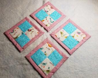 Pink, teal, and birdies mug rug / coasters