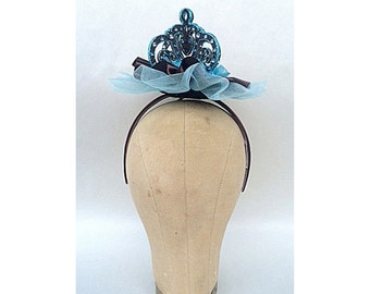 Turquoise Crown Costume Couture Headpiece Fascinator Queen Teal Brown Kawaii Lolita Victorian New Years Steampunk Costume Cosplay Princess