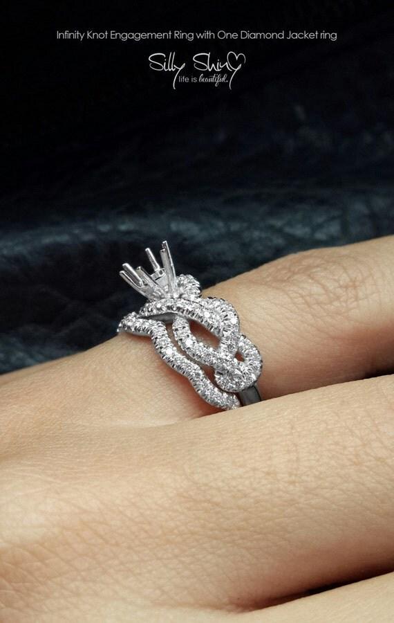 semi mount engagement ring infinity knot by sillyshinydiamonds