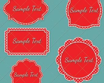 Fancy Red & White Polka Dot frames vector graphics digital images - INSTANT DOWNLOAD - digital clip art, digital images