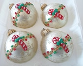 Reserved for Peter 4 Vtg KREBS Ivory Glass Ball Christmas Ornaments Glitter Bric a Brac Candy Cane