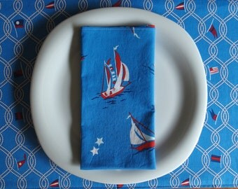 Sailboat Napkins in Blue, Red, White, Nautical Napkins, Large Dinner Napkin, Summer Napkins, Gift for Him, Anna Griffin Seafarer Breakwater