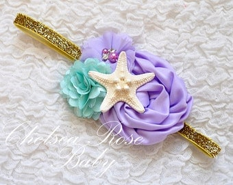 Under the Sea Mermaid Aqua Lavender Gold or Silver Headband, Under the Sea headband, Starfish Headband, Mermaid Birthday, Mermaid Hair bow