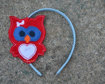Little Girls Owl Headband   Slider, Ready to Ship as Pictured, Patriotic Headband, Red White and Blue